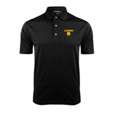 Black Dry Mesh Polo-Stacked Lions with Head