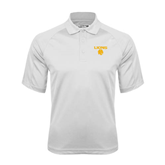 White Textured Saddle Shoulder Polo-Stacked Lions with Head