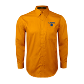 Gold Twill Button Down Long Sleeve-Stacked Lions with Head