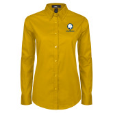 Ladies Gold Twill Button Down Long Sleeve-Mascot AM Commerce