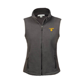 Ladies Fleece Full Zip Charcoal Vest-Stacked Lions with Head