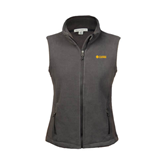 Ladies Fleece Full Zip Charcoal Vest-Flat A&M Commerce Lions