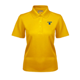 Ladies Gold Dry Mesh Polo-Stacked Lions with Head