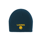 Navy Knit Beanie-Stacked Lions with Head
