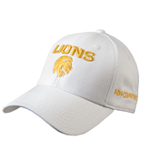 White Heavyweight Twill Pro Style Hat-Stacked Lions with Head