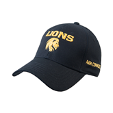 Black Heavyweight Twill Pro Style Hat-Stacked Lions with Head