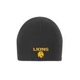 Charcoal Knit Beanie-Stacked Lions with Head