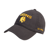 Charcoal Twill Unstructured Low Profile Hat-Stacked Lions with Head
