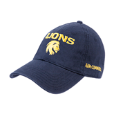 Navy Twill Unstructured Low Profile Hat-Stacked Lions with Head
