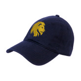 Navy Twill Unstructured Low Profile Hat-Mascot Logo