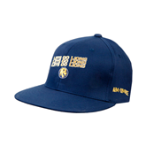Navy OttoFlex Flat Bill Pro Style Hat-Angled Lets Go Lions