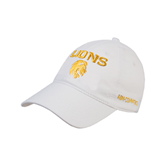 White Twill Unstructured Low Profile Hat-Stacked Lions with Head