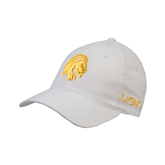 White OttoFlex Unstructured Low Profile Hat-Official Logo