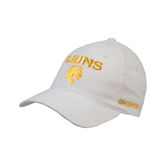 White OttoFlex Unstructured Low Profile Hat-Stacked Lions with Head