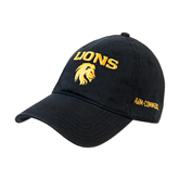 Black Twill Unstructured Low Profile Hat-Stacked Lions with Head