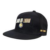 Black OttoFlex Flat Bill Pro Style Hat-Angled Lets Go Lions
