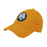 Gold Twill Unstructured Low Profile Hat-Mascot Logo