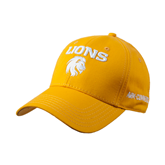 Gold Heavyweight Twill Pro Style Hat-Stacked Lions with Head