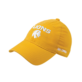 Gold Flexfit Mid Profile Hat-Stacked Lions with Head