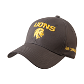 Charcoal Heavyweight Twill Pro Style Hat-Stacked Lions with Head