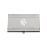 Crosshatch Silver Business Card Holder-Official Logo Engrave