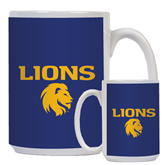 Full Color White Mug 15oz-Stacked Lions with Head