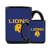Full Color Black Mug 15oz-Stacked Lions with Head