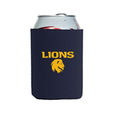 Collapsible Navy Can Holder-Stacked Lions with Head
