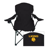 Deluxe Black Captains Chair-Stacked Lions with Head