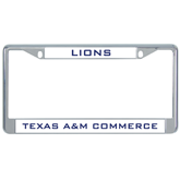 Metal License Plate Frame in Chrome-Lions