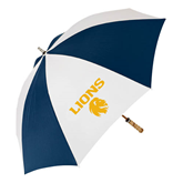 62 Inch Navy/White Umbrella-Stacked Lions with Head
