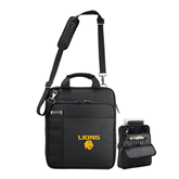 Kenneth Cole Black Vertical Checkpoint Friendly Messenger-Stacked Lions with Head