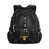 Wenger Swiss Army Mega Black Compu Backpack-Stacked Lions with Head