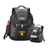 High Sierra Big Wig Black Compu Backpack-Stacked Lions with Head