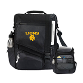 Momentum Black Computer Messenger Bag-Stacked Lions with Head