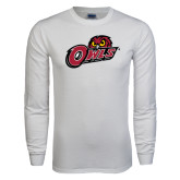 White Long Sleeve T Shirt-Owls w/Owl Head