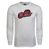 White Long Sleeve T Shirt-Owls w/Owl Head