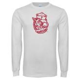White Long Sleeve T Shirt-Vintage Owl Head
