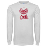 White Long Sleeve T Shirt-Sitting Owl