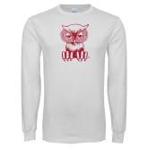White Long Sleeve T Shirt-Sitting Owl