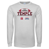 White Long Sleeve T Shirt-Temple 2018 Independence Bowl