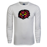 White Long Sleeve T Shirt-Owl Head