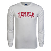 White Long Sleeve T Shirt-Arched Temple University