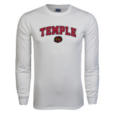 White Long Sleeve T Shirt-Arched Temple w/ Owl Head