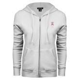 ENZA Ladies White Fleece Full Zip Hoodie-Vintage Owl Atop T