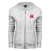 ENZA Ladies White Fleece Full Zip Hoodie-Box T