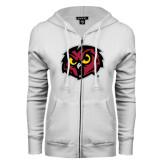 ENZA Ladies White Fleece Full Zip Hoodie-Owl Head