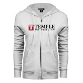 ENZA Ladies White Fleece Full Zip Hoodie-University Mark