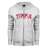 ENZA Ladies White Fleece Full Zip Hoodie-Arched Temple University