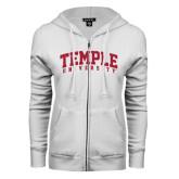 ENZA Ladies White Fleece Full Zip Hoodie-Arched Temple University